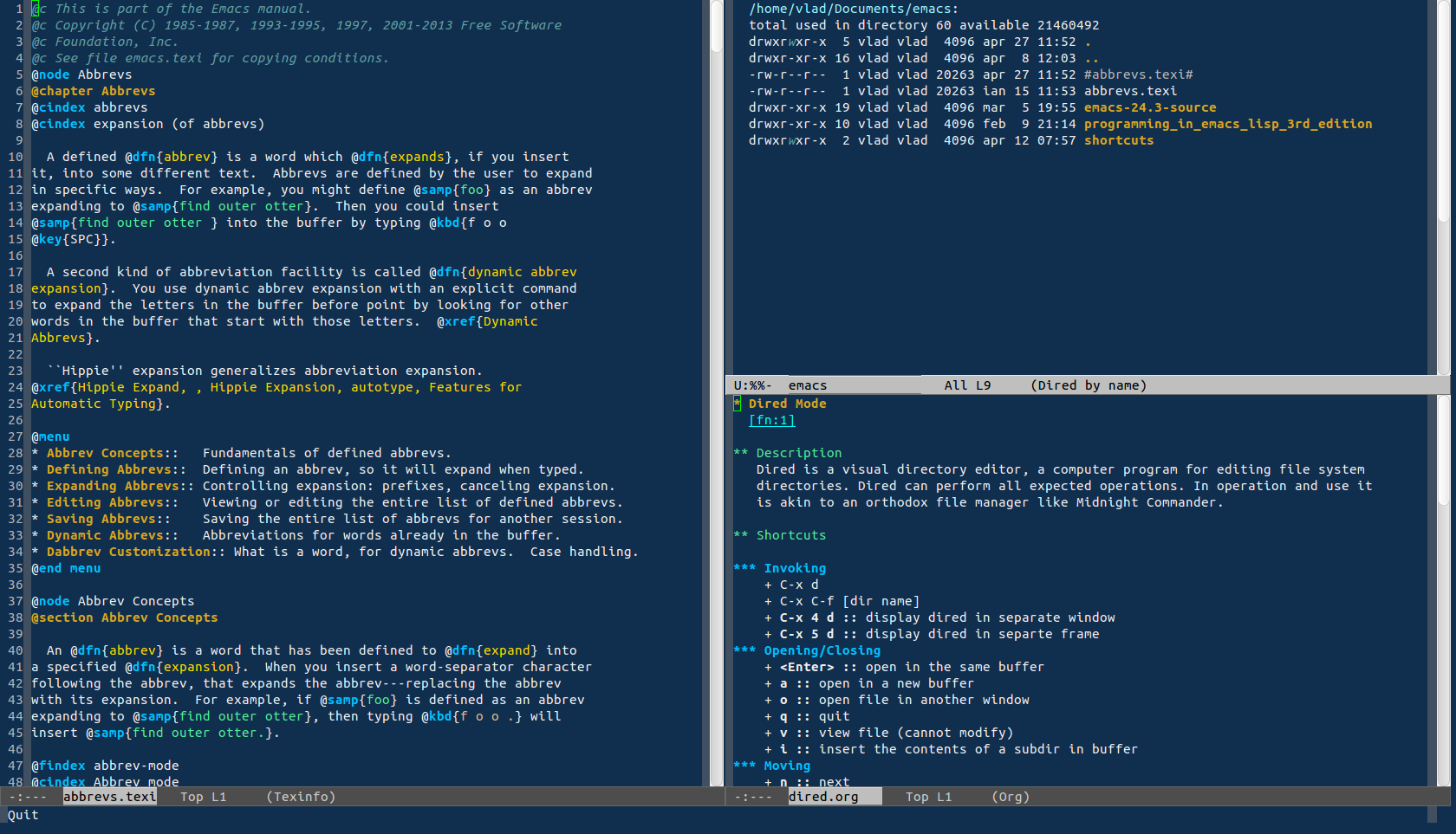 Deep Blue Theme | Emacs Themes